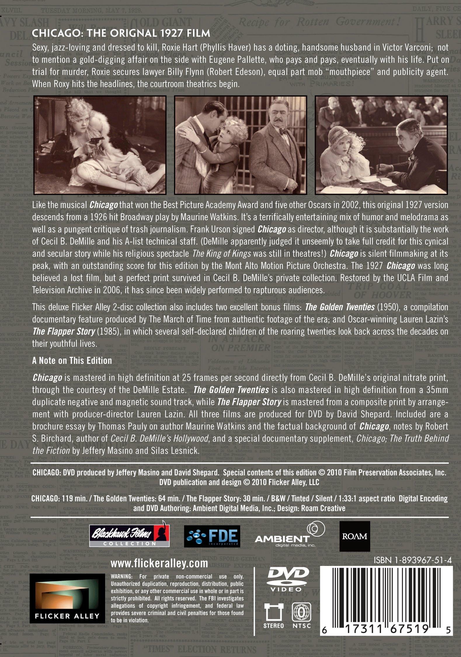 CHICAGO The Original 1927 Film Restored by Flicker Alley LLC