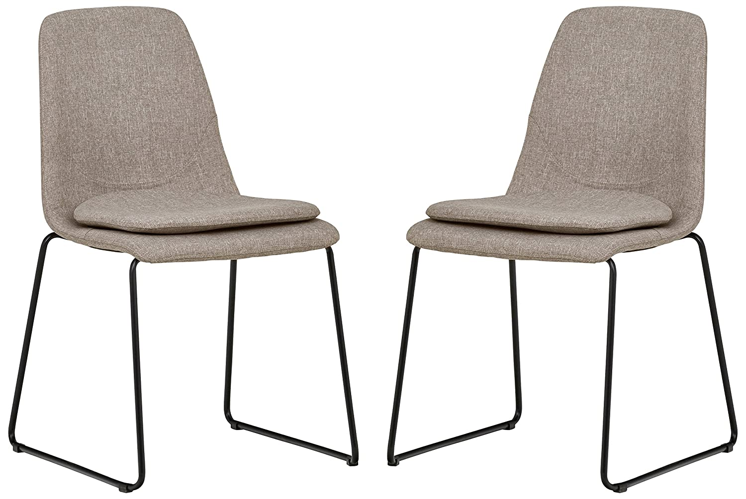 Rivet Brianna Mid-Century Modern Kitchen Dining Room Set of 2 Removable Cushion Chairs, 34.2 Inch Height, Grey