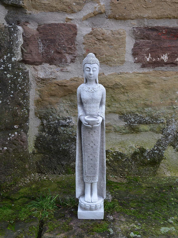 Grau gartendekoparadies.de Massive Steinfigur schmaler M/önch Buddha aus Steinguss frostfest