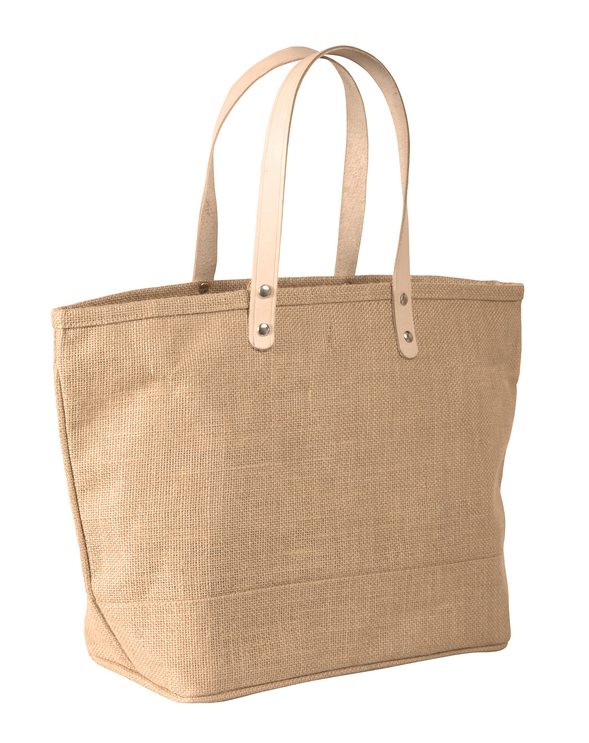 Pack of 6- Small Jute Tote bag with Leather Handles Size 17.25''W x 10.5''H x 5.5'' Gusset in Natural Color - CarrygreenBags by CarryGreen