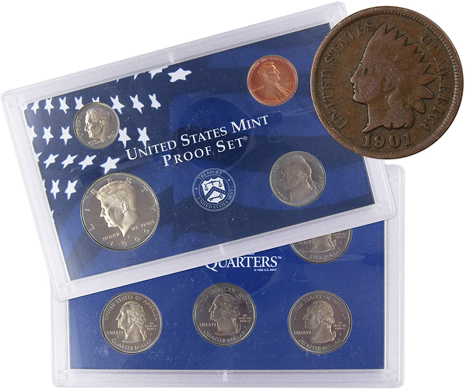 1998  United States Silver Proof Set 5 Five Coin Set Kennedy Half Dollar