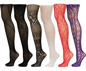 22b2783cb Frenchic Fishnet Women s Lace Stockings Tights Sexy Pantyhose Extended  Sizes (Pack of 6) …