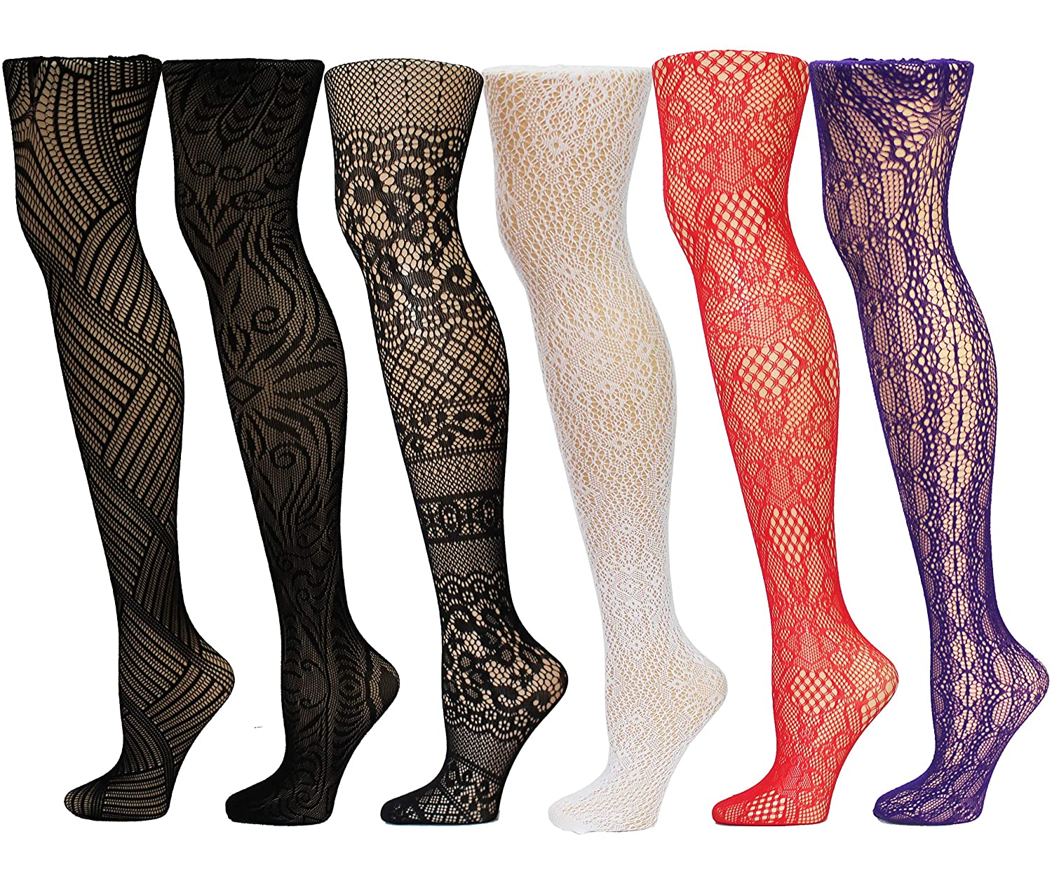 ea97ae0e5 Frenchic Fishnet Women s Lace Stockings Tights Sexy Pantyhose Extended Sizes  (Pack of 6) ... at Amazon Women s Clothing store