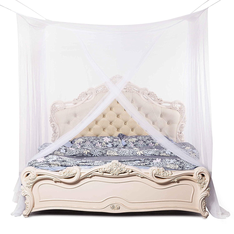 Beddingleer Moskitonetze Himmelbett Großes Moskitonetz für Doppelbetten  17x17x17 cm. Hochwertiger Mückenschutz im Schlafzimmer oder Garten Weiß