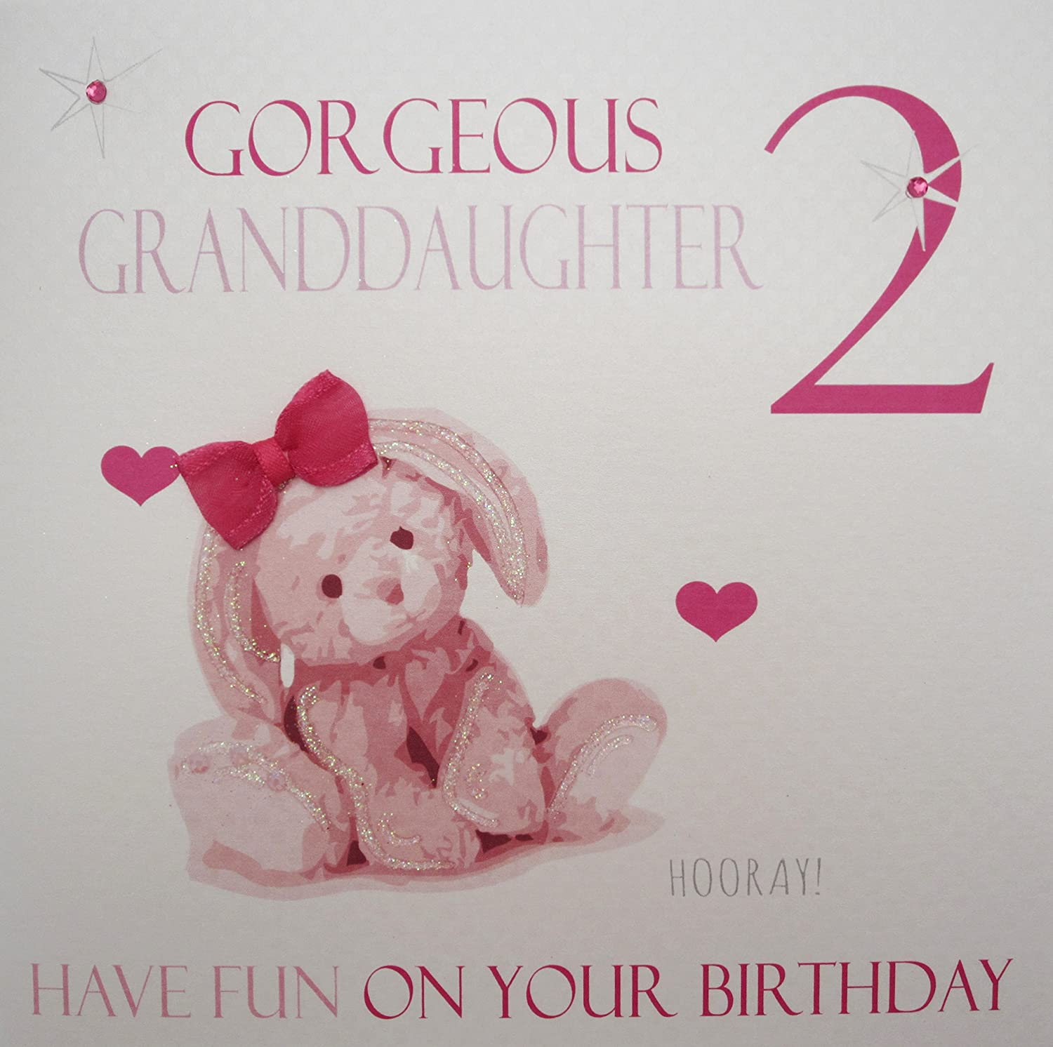 White cotton cards gorgeous granddaughter 2 pink bunny handmade age white cotton cards gorgeous granddaughter 2 pink bunny handmade age 2 birthday card amazon kitchen home bookmarktalkfo Choice Image