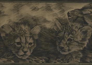 Retroart Pintado Negro Beige Leopardo Salvaje Gatitos Animales