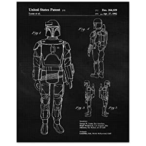 Vintage Star Wars Mandalorian Patent Poster Prints, Set of 1 (8x10) Unframed Photo, Wall Art Decor Gifts Under 15 for Home, Office, Garage, Man Cave, College Student, Teacher, Comic-Con & Movies Fan