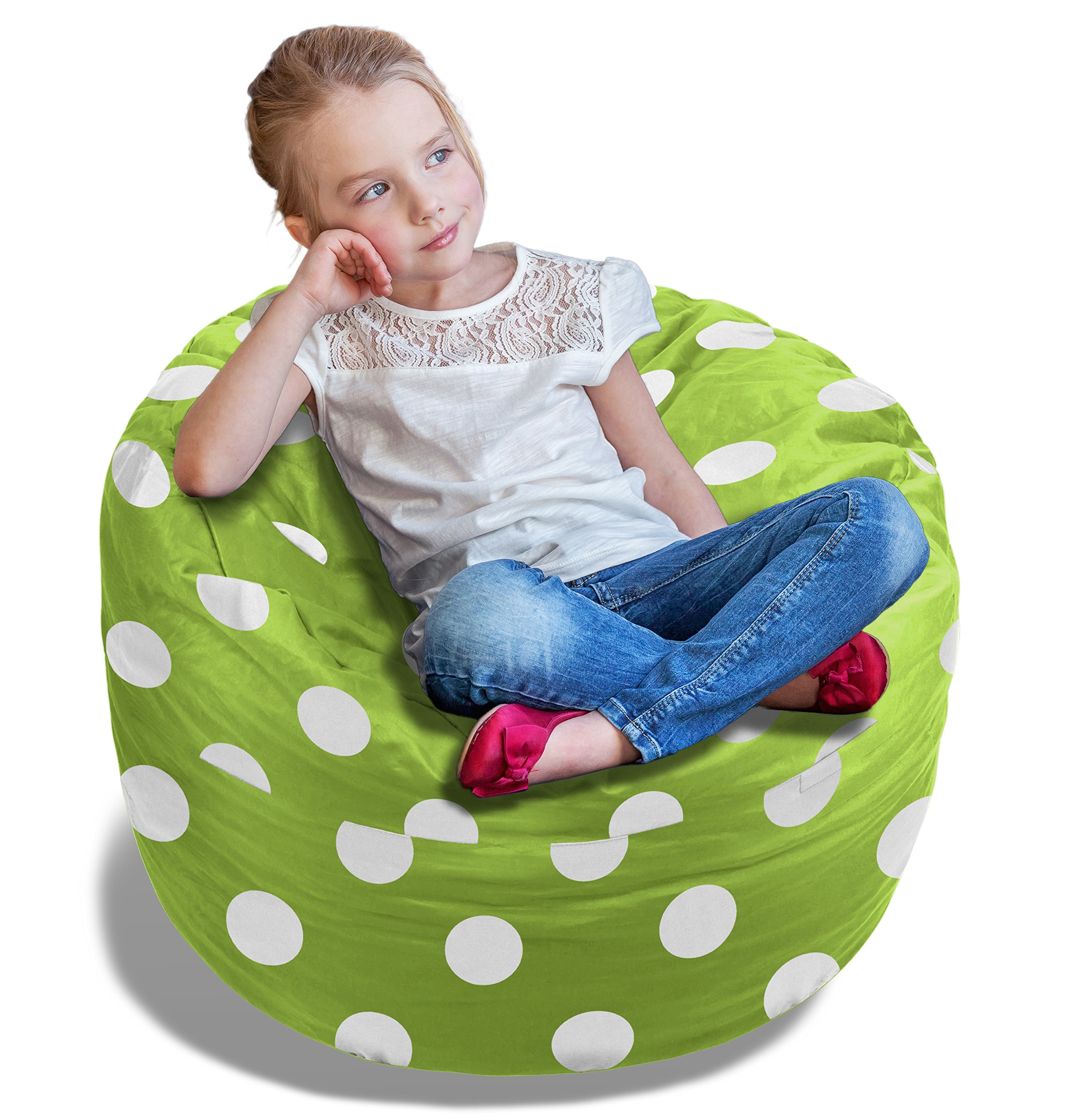 Stuffed Animal Bean Bag Storage Chair in Green w/Polka Dots - 2.5ft Large Fill & Chill Space Saving Toy Organizer for Children - for Blankets, Teddy Bears, Clothes & Bedding