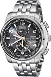 Citizen Eco-Drive Men's Silvertone and Black World Time A-T Watch
