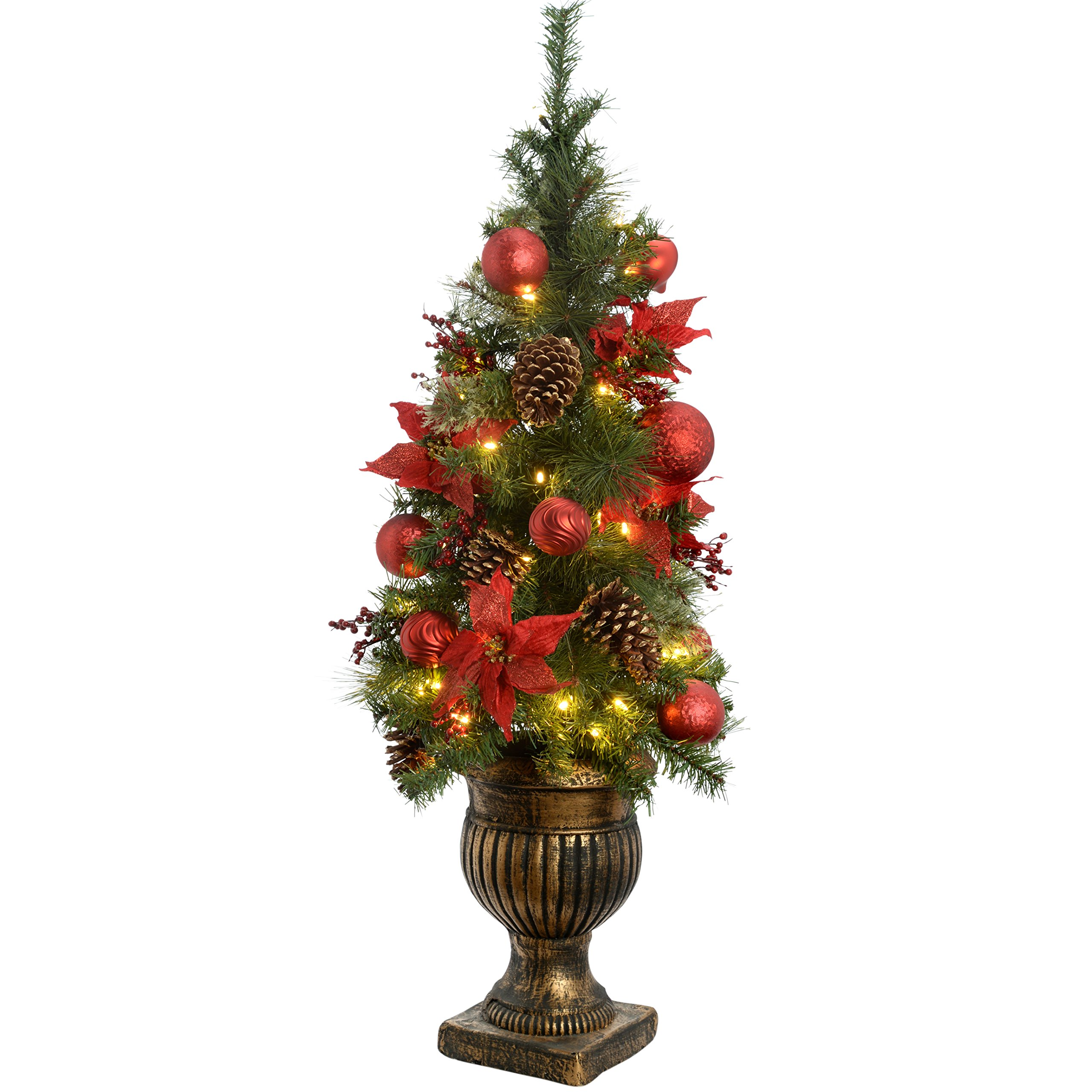 Werchristmas 4 Ft Pre Lit Potted Christmas Tree With 50