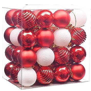Weiß Christbaumkugeln Kunststoff.Valery Madelyn 48 Stücke 4cm Kunststoff Weihnachtskugeln Rot Weiß Christbaumkugeln Mit Aufhänger Weihnachtsbaumschmuck Weihnachten Dekoration