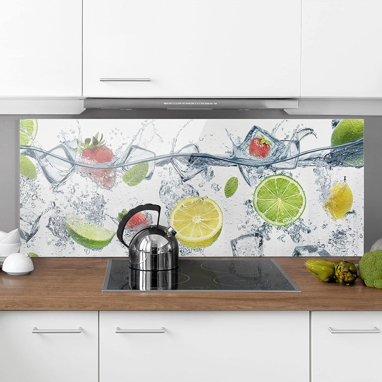 Panel antisalpicaduras Panel de Vidrio para Cocina Panel Protector contra Salpicaduras Tropical Paradise Tama/ño: 40cm x 100cm Bilderwelten Panel antisalpicaduras de Cristal Panor/ámico