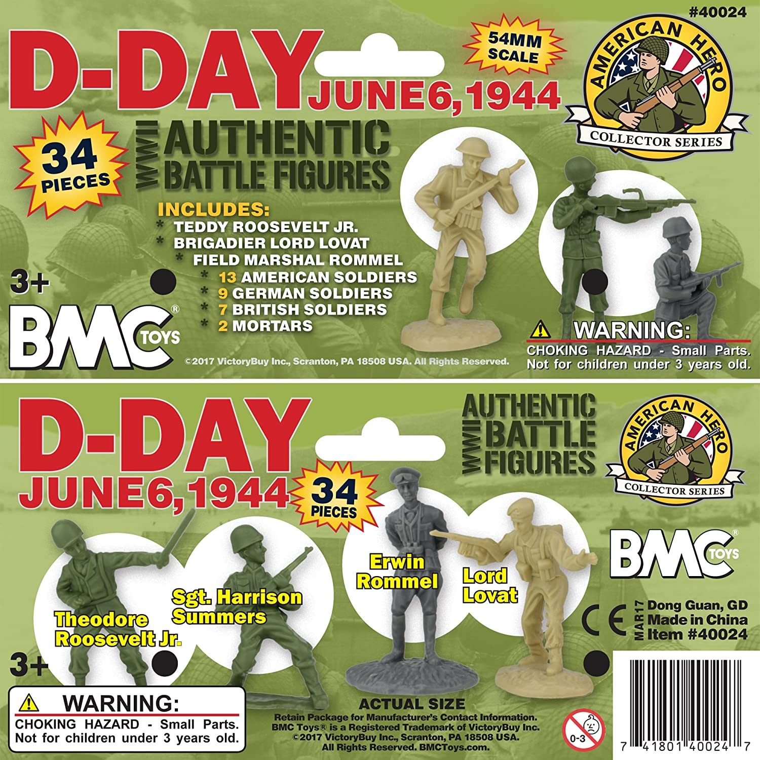 Bagged 54mm D-Day June 6 1944 34pcs The Invasion of Normandy Figure Playset Playsets by b.m.c