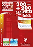 Clairefontaine 14791c Copie doubles Seyes Grand carreaux Paquet de 300 + 200 gratuit
