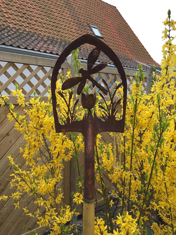 Crispe home /& garden Edelrost Deko-Schaufel mit Regenmesser Libelle 3D Gartendekoration f/ür au/ßen H/öhe: 180 cm