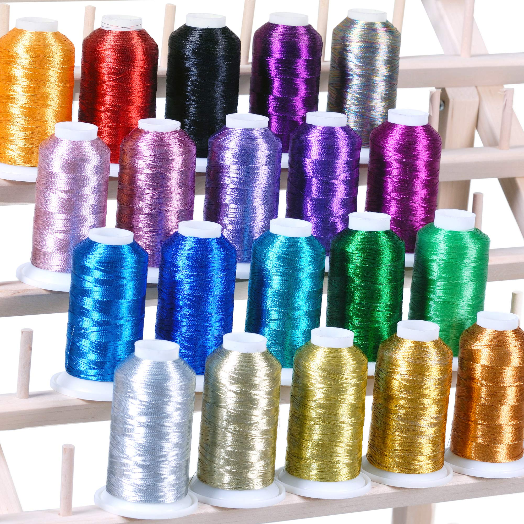 20 Metallic Embroidery Threads 1100 yards for Computerized Machines For Brother Babylock Janome Singer Pfaff Husqvaran Bernina Machine by ThreadNanny