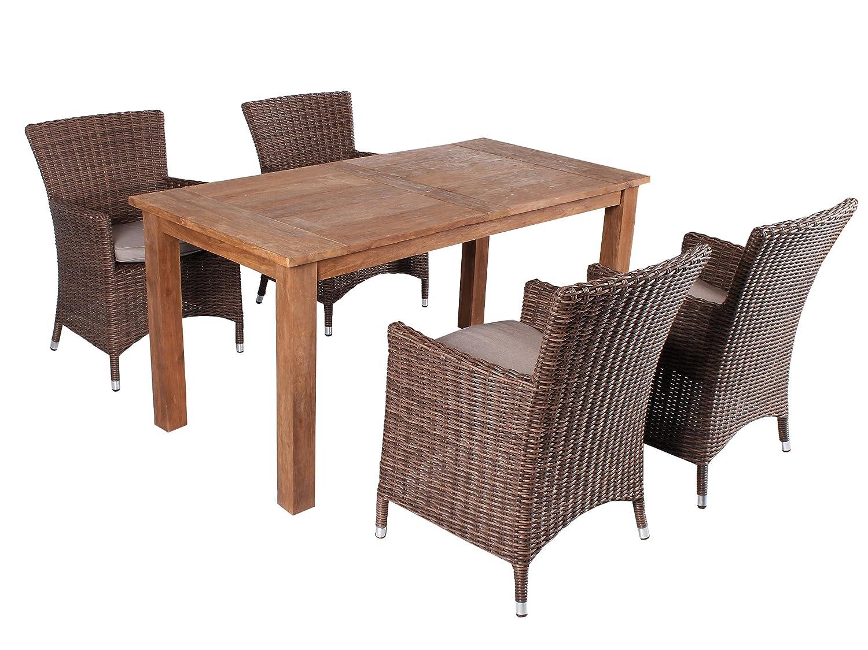 GARDENho.me 5tlg. Teak u. Polyrattan Sitzgruppe Alassio Essgruppe Braun inkl. Sitzkissen, Tisch 160 cm