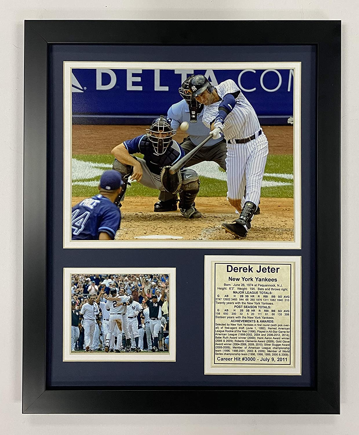 "Legends Never Die New York Yankee Derek Jeter 3000th Hit Collectible | Framed Photo Collage Wall Art Decor - 12""x15"""
