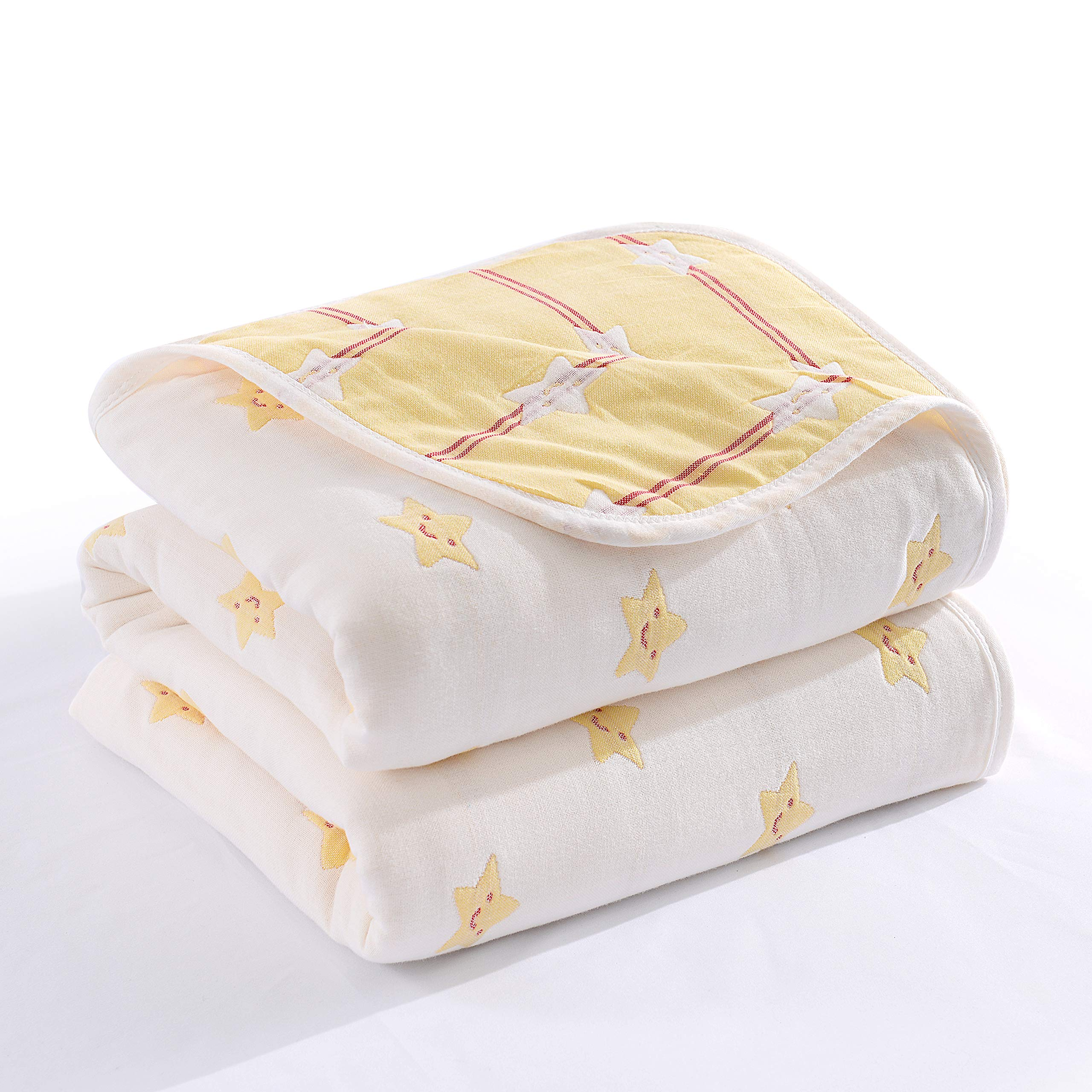 Futtle Cute Star 6 Layer Muslin Cotton Bed Blanket Cozy Soft Breathable Reversible Throw Blanket Coverlet Bedding Gift for Sofa Couch Women Adult (2, 79''X94'')