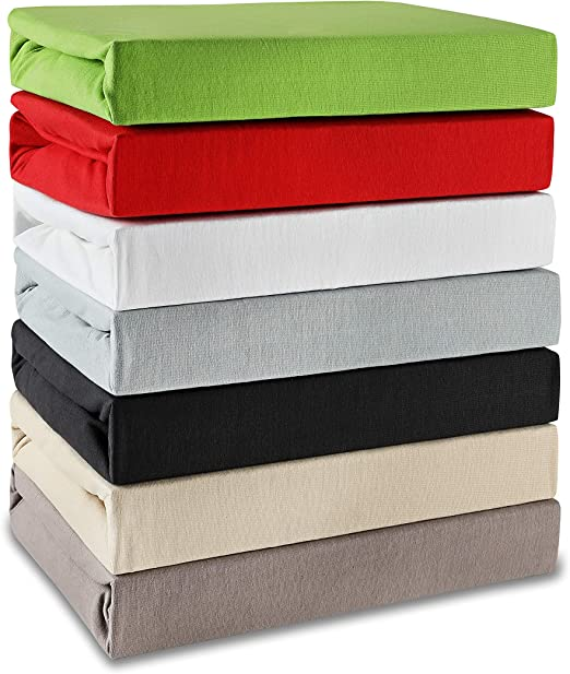 Jersey 30 cm Steghöhe beige weiß grün Spannbetttuch Spannbettlaken 180x200 cm