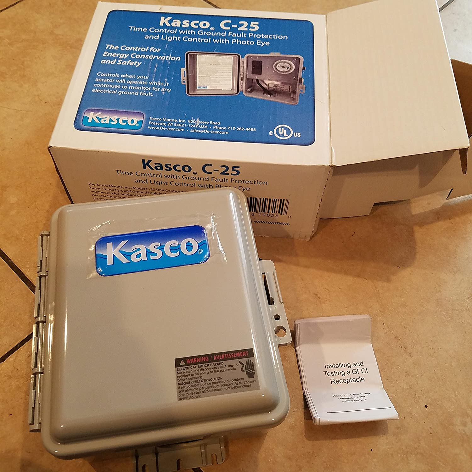 Kasco Marine C 25 120v Gfci Control Box Time Ground How To Add A With One Outlet Controlled By Switch Fault Protection Photo Eye Light