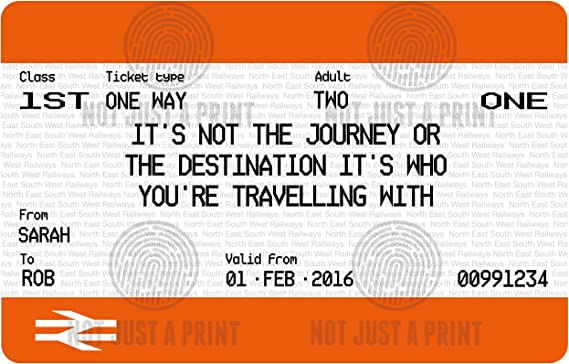 - Life is a journey Personalised Train Ticket Print Wedding gift style