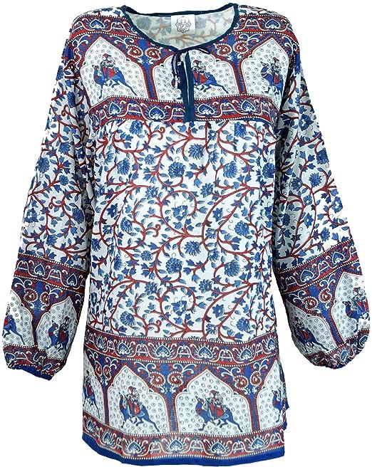 GURU-SHOP, Blusa Hippie Claro, Blusa de Verano, Túnica, Blusa de Señora, Blusa de Manga Larga, Azul/Rojo, Algodón, Tamaño:One Size, Blusas: Amazon.es: Ropa ...