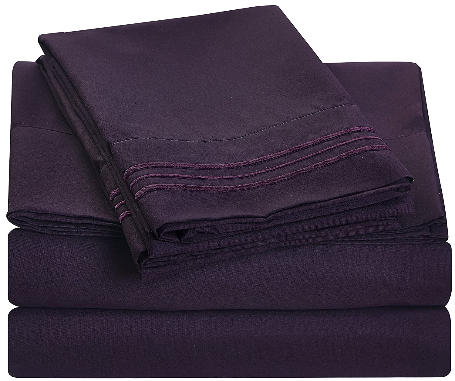 Bluedotsky Bedding - 1800 Platinum Collection 4 Piece - Full, Eggplant/Purple