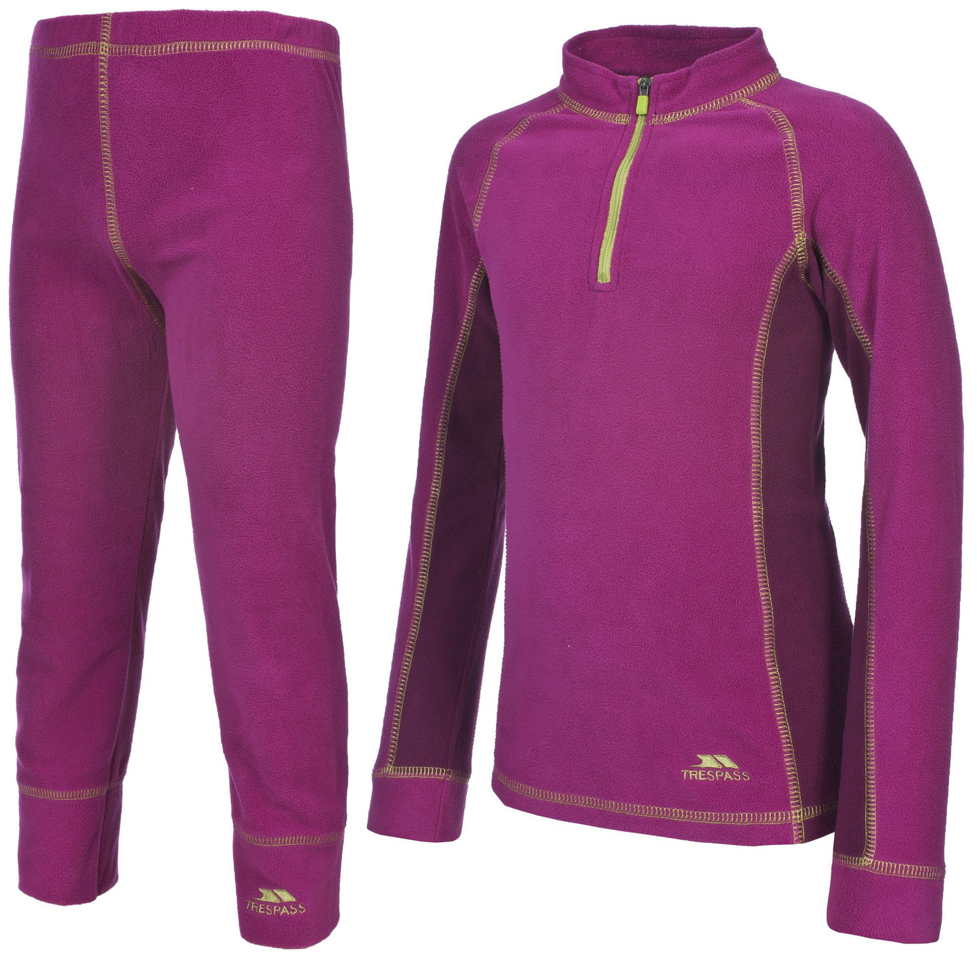 Trespass Childrens/Kids Bubbles Fleece Baselayer Set (5/6 Years) (Azalea)