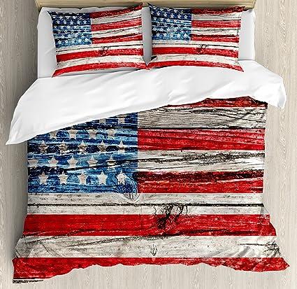 25b29afa77f Amazon.com  Ambesonne Rustic American USA Flag Duvet Cover Set Queen ...