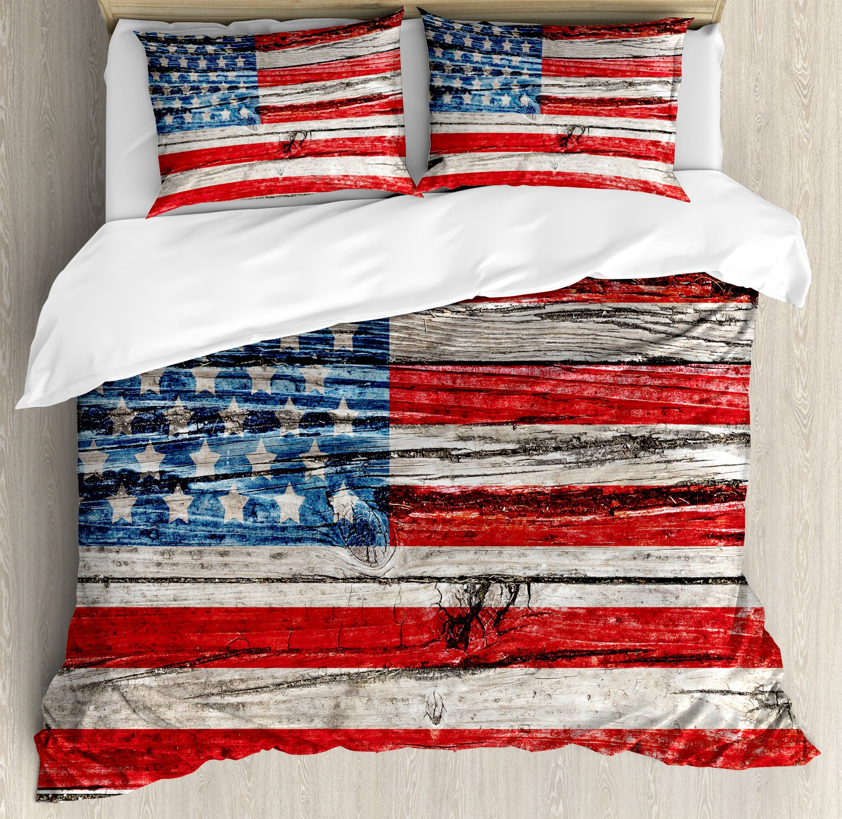 Ambesonne Rustic American USA Flag Duvet Cover Set Queen Size, Fourth of July Independence Day Painted Wooden Panel Wall Looking Image Freedom, Decorative 3 Piece Bedding Set with 2 Pillow Shams