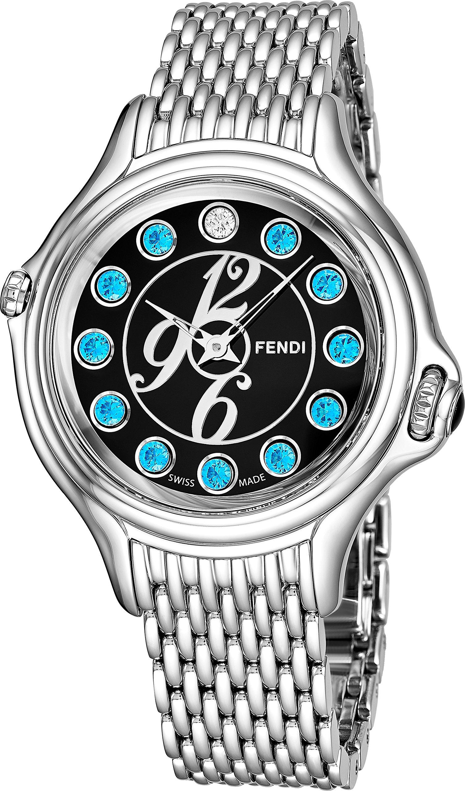 Fendi Crazy Carats Ladies Stainless Steel Luxury Watch - 38mm Black Face Multi Color Gemstones Analog Swiss Quartz Watch For Women F105031000T04