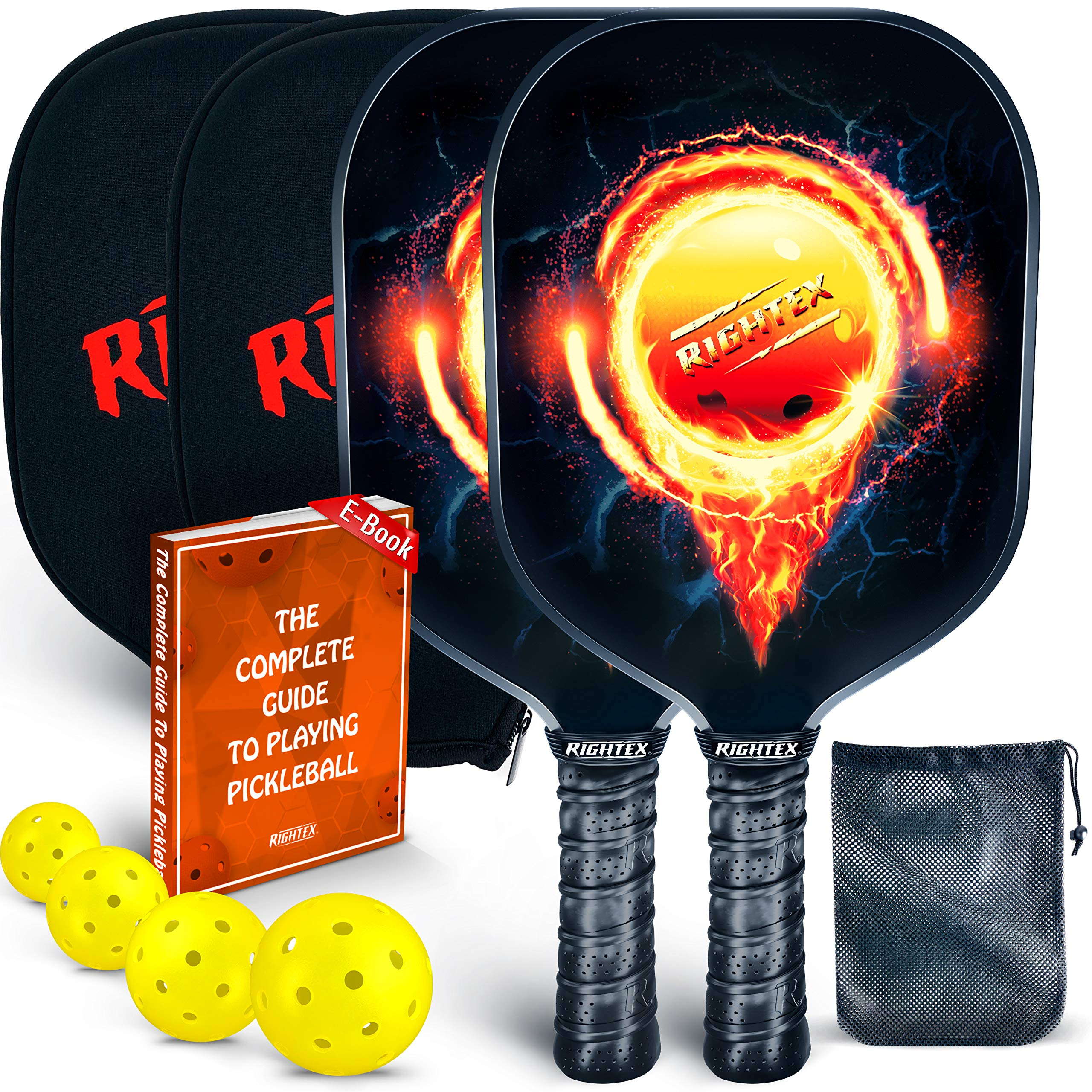 Rightex Pickleball Paddle Racket Set - Graphite Surface & Polypropylene Honeycomb Core - Includes 2 Graphite Paddles + 4 x 40 Hole USAPA Balls + 1 Net Pickleball Carrying Bag + 2 Paddle Covers by Rightex