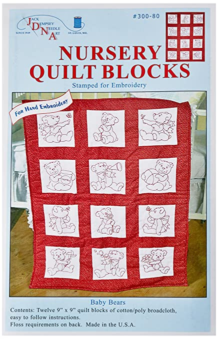 Jack Dempsey Needle Art 30021 Nursery Girls Quilt Blocks, 12 Quilt Blocks, 9-Inch-by-9-Inch, White Jack Dempsey Assoc LLC