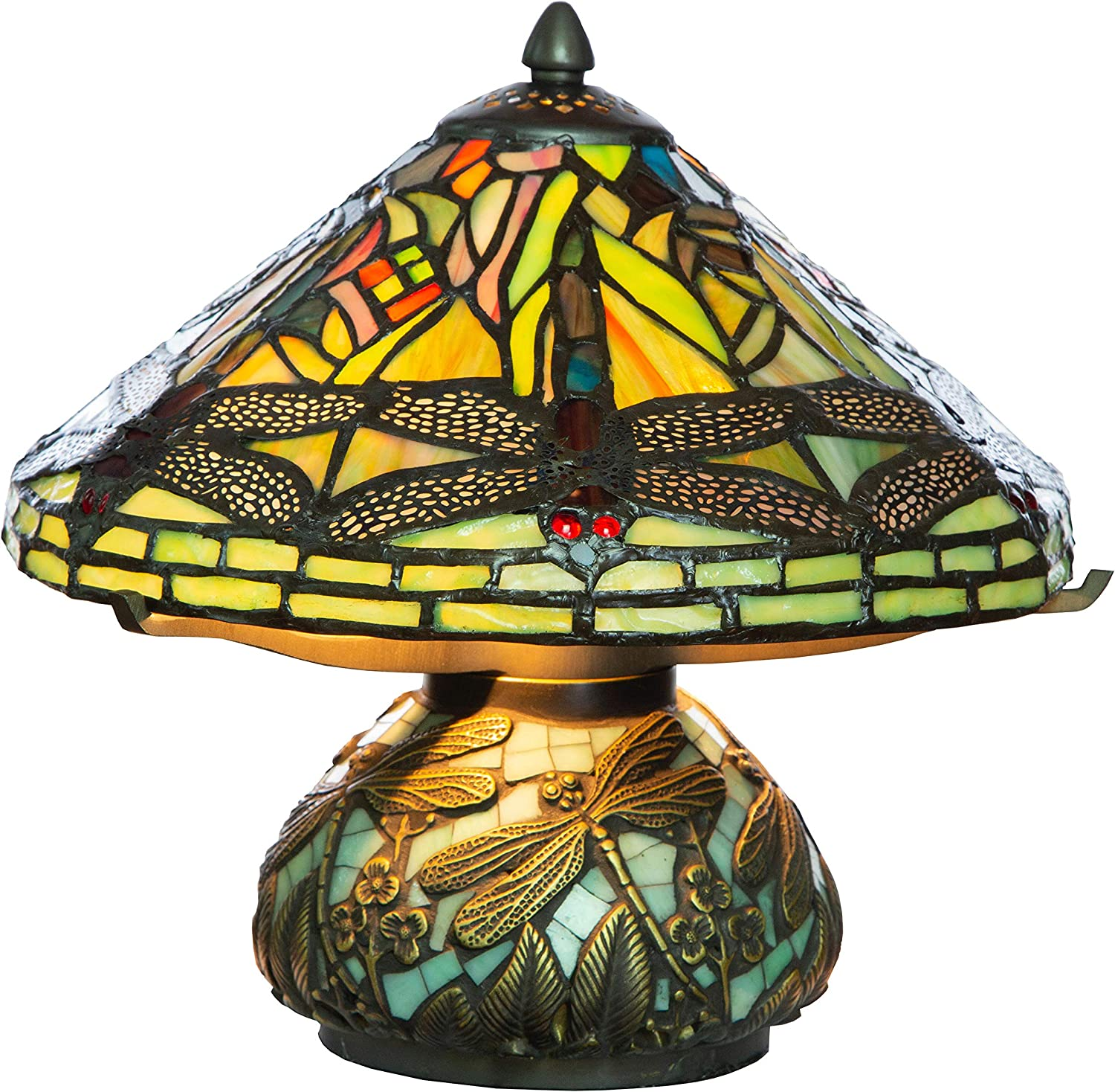 10 H Stained Glass Mini Dragonfly Table Lamp W Mosaic Base Amazon Com