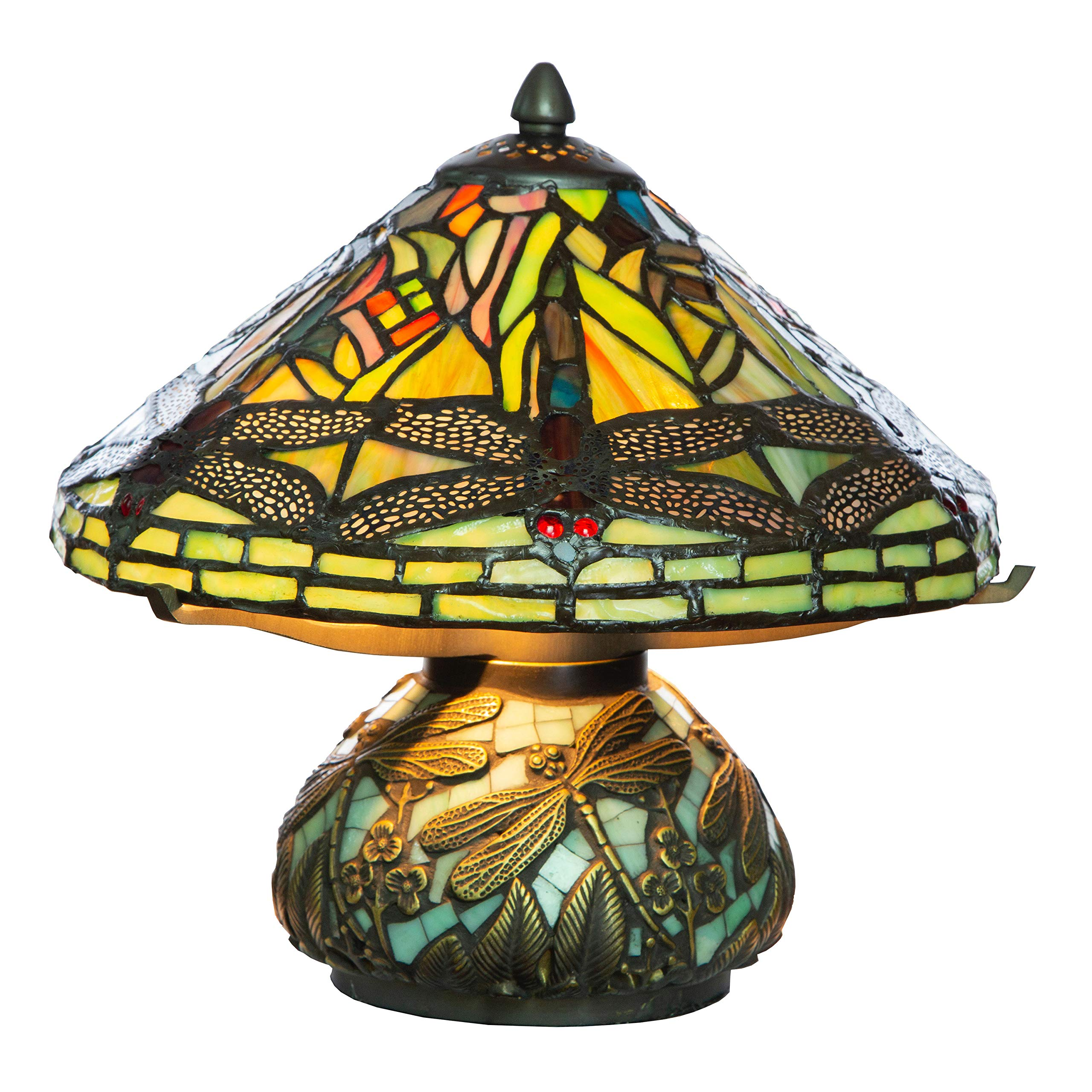 """10"""" H Stained Glass Mini Dragonfly Table Lamp w/Mosaic Base"""