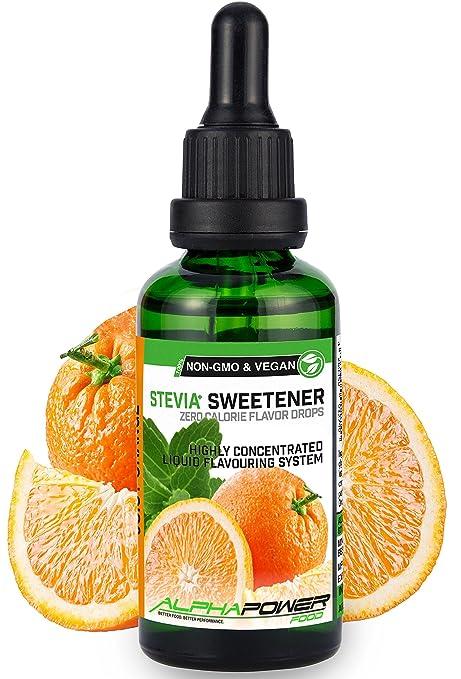 ALPHA POWER FOOD: Stevia líquida natural - Stevia Gotas de jugo de naranja, Edulcorante