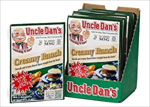 Uncle Dan's Dips, Seasonings and Salad Dressings Mix Packets - Creamy Ranch - Case of 12 Packets - For the Perfect Homemade Flavor in Your Dry Rubs, Pasta Sauces & Marinades