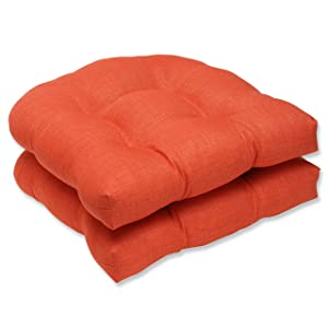 Pillow Perfect Outdoor/Indoor Rave Coral Wicker Seat Cushion (Set of 2)