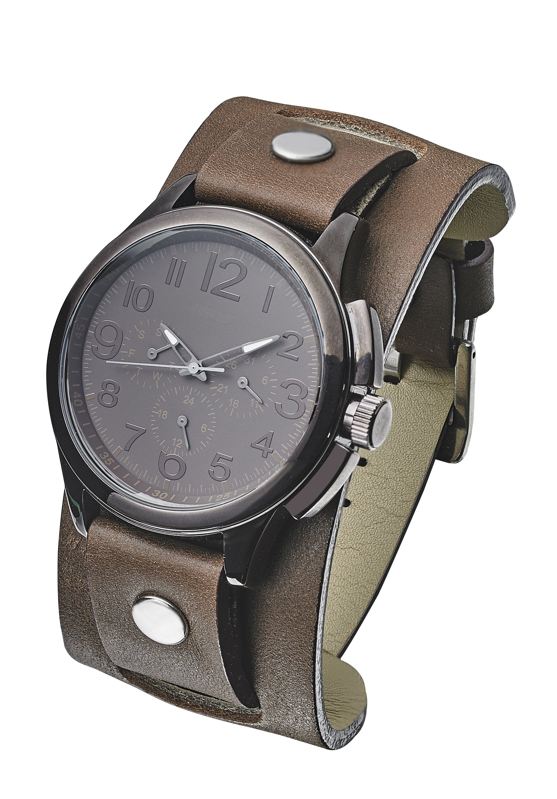 Thick Genuine Leather Cuff Watch Band - Brown- 24mm (fits wrist sizes 6 1/4 to 8 inch)