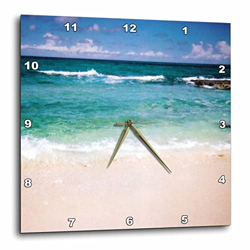 3dRose Renderly Yours Beautiful Sandy Beach Wall Clock, 10 by 10-Inch