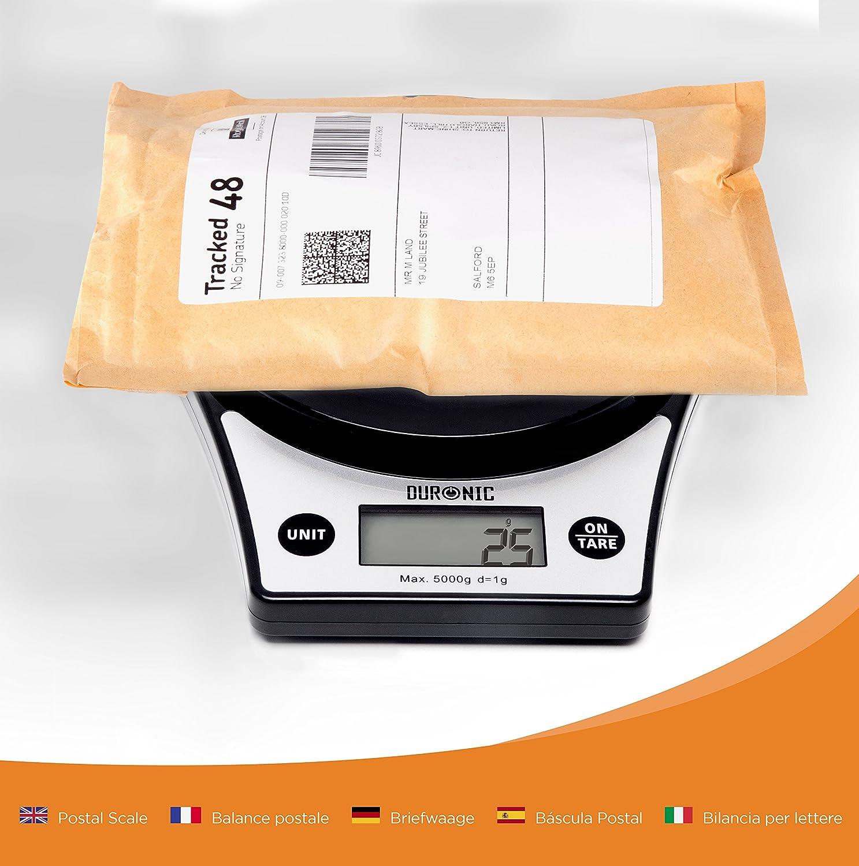 Duronic KS6000 Báscula Cocina Digital 5 Kg de Acero inoxidable Balanza Cocina Peso Pantalla LCD y Tazón Removible Transparente: Amazon.es: Hogar
