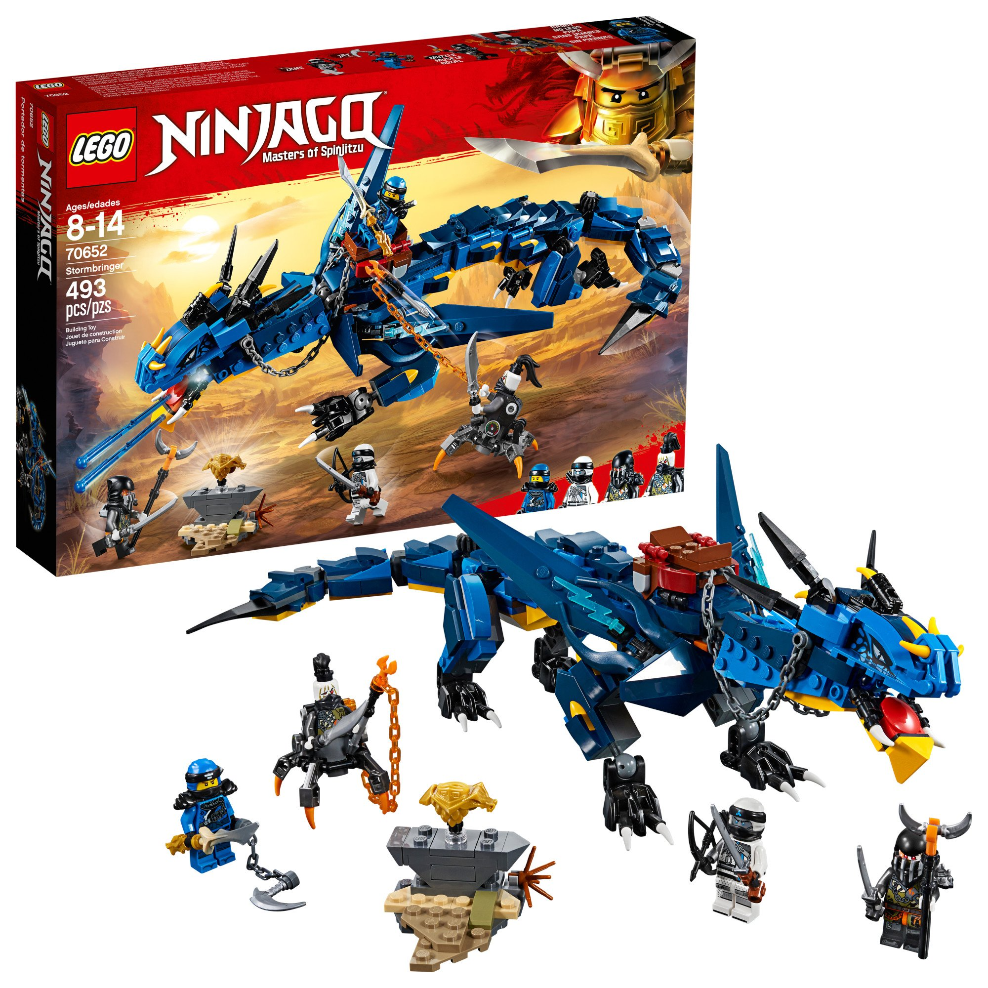 LEGO NINJAGO Masters of Spinjitzu: Stormbringer 70652 Ninja Toy Building Kit with Blue Dragon Model for Kids, Best Playset Gift for Boys (493 Piece) by LEGO