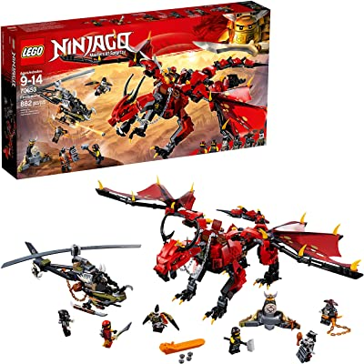 LEGO NINJAGO Masters of Spinjitzu: Firstbourne 70653 Ninja Toy Building Kit with Red Dragon Figure, Minifigures and a Helicopter (882 Pieces): Toys & Games
