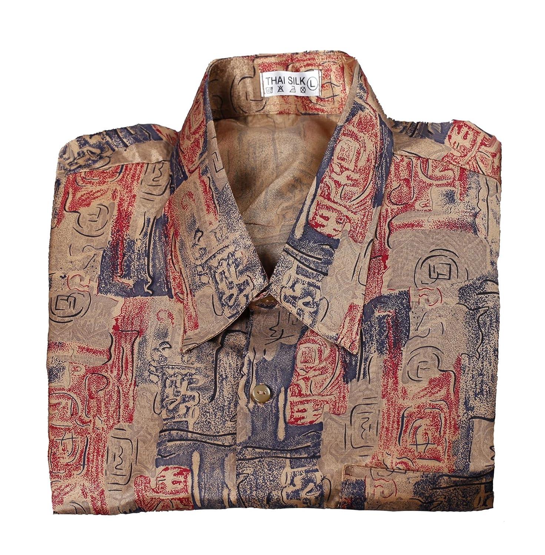 Mens thai silk short sleeve shirts kamos t shirt for Mens silk shirts amazon
