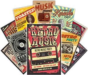 HK STUDIO Retro Music Posters, Vintage Posters for Music Studio Decor, Coffee Shop, Bar Decorations, Pub Wall Decor, Music Signs Must-have for Living Room Wall Art, Wall Collage Kit for Teens, Pack 12