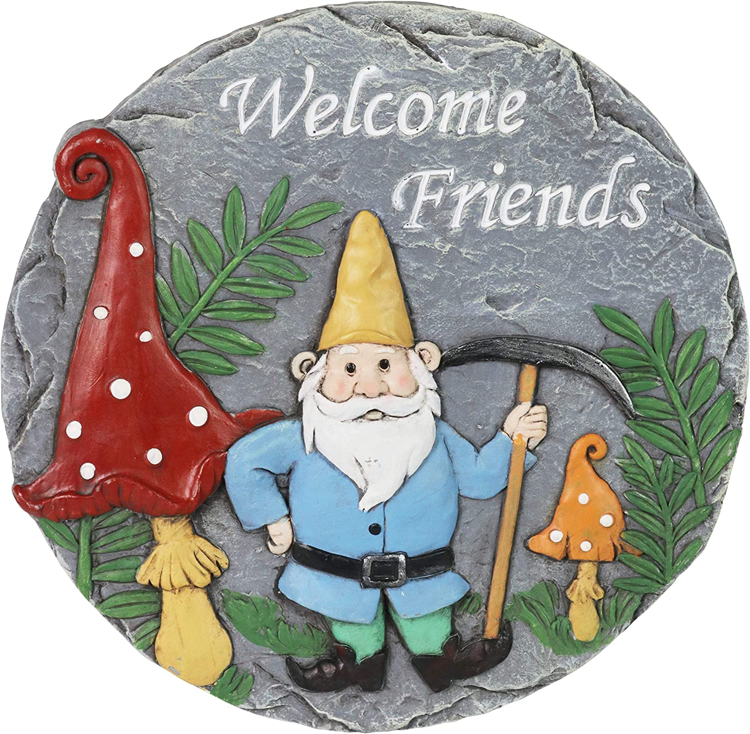 """Exhart Stepping Stone, Welcome Friends Garden Stone Mining Gnome – Colorful Garden Stepping Stones for Pathway – Durable & Hand Painted Resin Outdoor Stepping Stone for Home & Garden Décor, 10""""x11"""""""