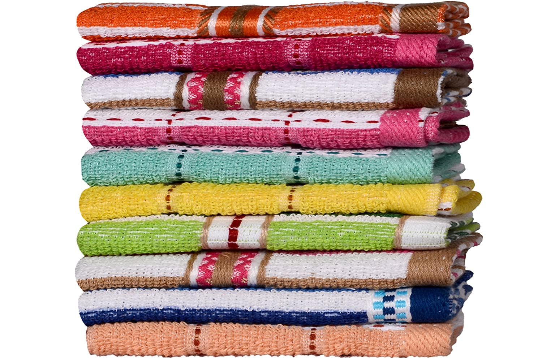 CASA COPENHAGEN Basics - Set di 10 asciugamani viso in cotone, qualità 400 g/m², Disegni e Colori Assortiti qualità 400 g/m² Acme CCB03003010006