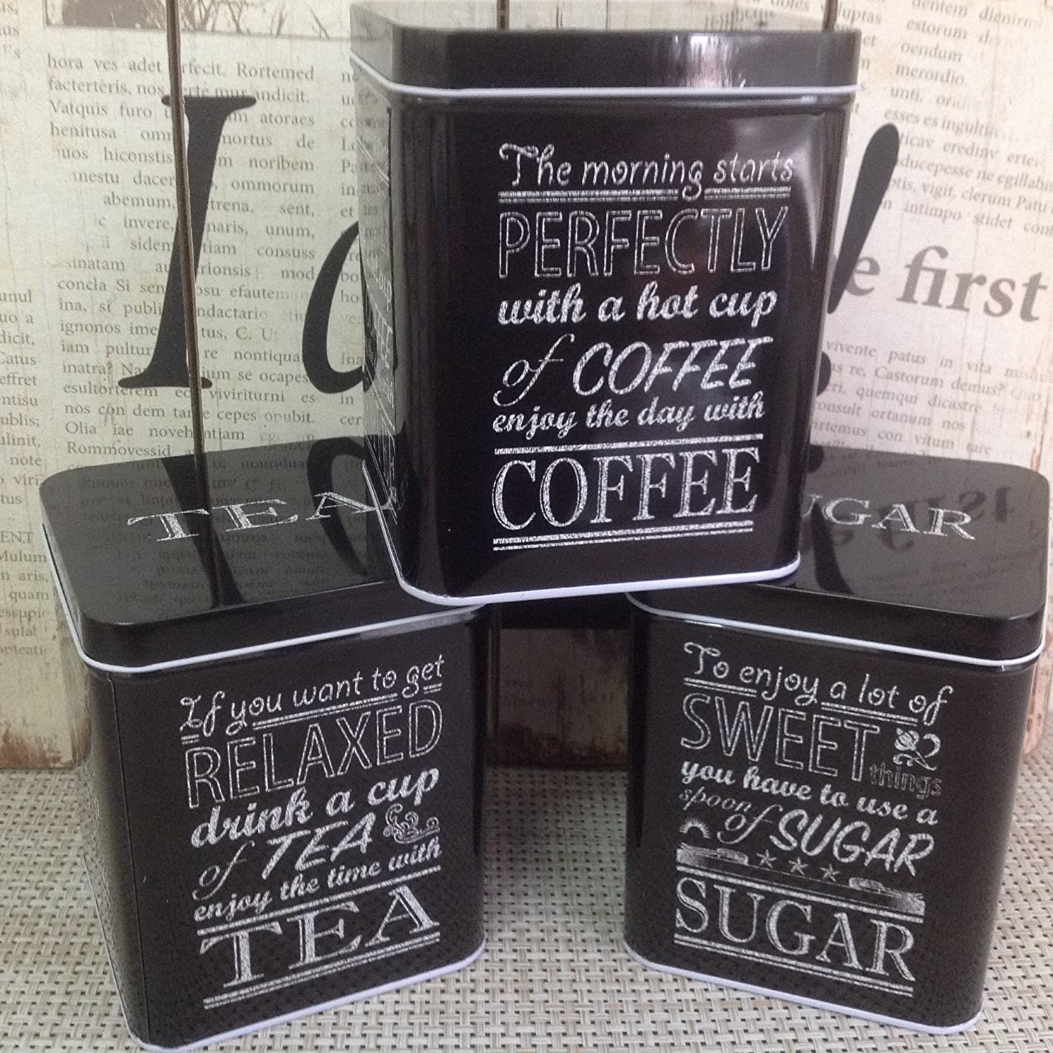Alice's Collection -Set Coffee, Sugar & Tea Metal Tins SHUANG YING CO LTD