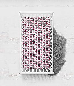 Bacati - Elephants Pink/Grey Mini Elephants Crib Fitted Sheet